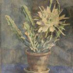 aquarel cactus met gele bloem