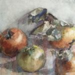 aquarel stilleven met appels van Rudolf de Bruyn Ouboter.