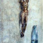 aquarel Christusbeeld met glazen fles van Rudolf de Bruyn Ouboter