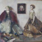 aquarel twee porseleinen poppen met klein schilderijtje van Rudolf de Bruyn Ouboter