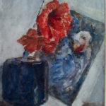 aquarel rode amaryllis in blauw vaasje met Japanse prent van Rudolf de Bruyn Ouboter