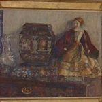 aquarel pop met Aziatisch kastje op commode - Bevindt zich niet meer in huidige collectie.