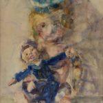 aquarel van twee poppen van Rudolf deBruyn Ouboter