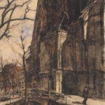 Pastel tekening van stadsgezicht Delft van Berend Bongers.