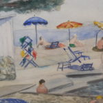 Strandgezicht Plage de la Garoupe Antibes in Zuid Frankrijk van Frits Schiller