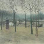 Egbert Schaap - aquarel wandelaarster op zondagmiddag